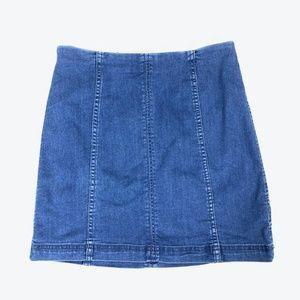 FREE PEOPLE Denim Mini Pencil Straight Skirt